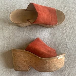 Zara Woman leather cork wedge platform sandal 70s